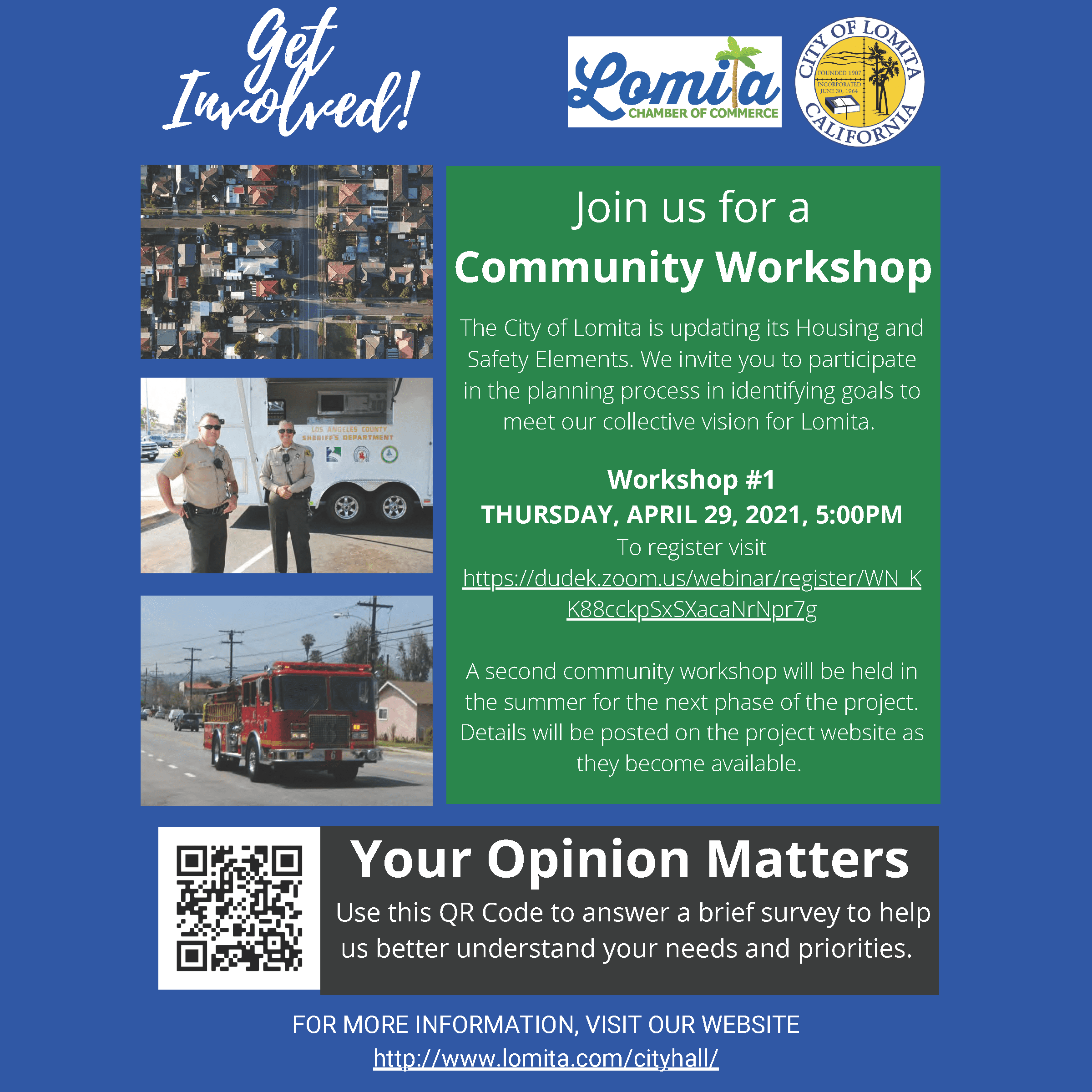 Get Involved! Survey and Workshop 1 flyer for SM