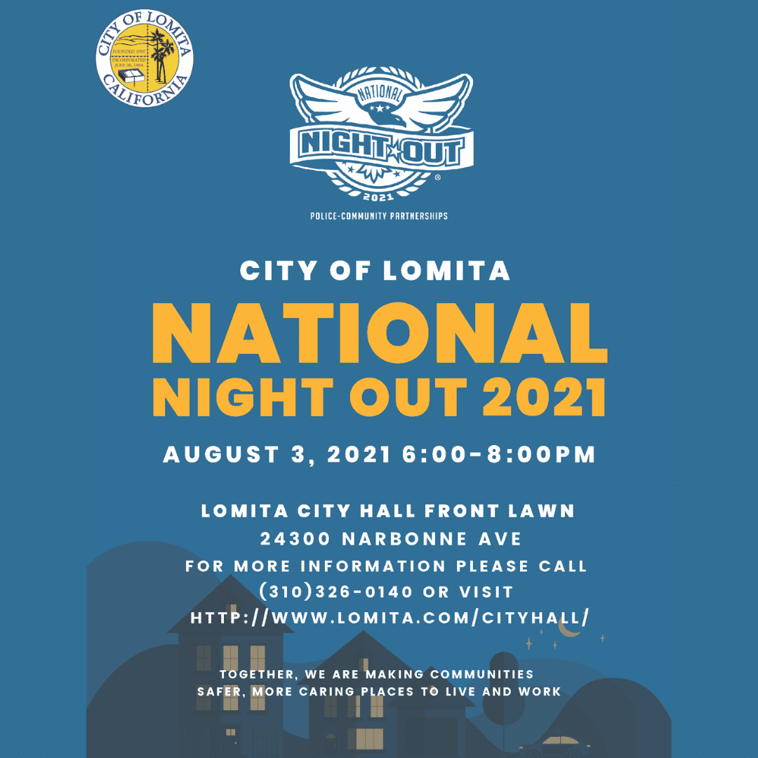 NATIONAL NIGH OUT August 3rd   6pm-8pm Lomita City Hall Still Got It Fitness